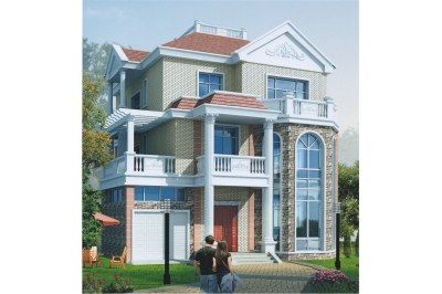 乡村别墅带车库设计图,三层户型方案,美观采光俱佳