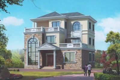 130平双露台三层小别墅设计图,旋转楼梯,又有面子。