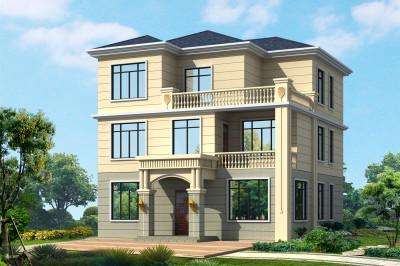 12x12三层农村自建房屋设计图,外观简洁,但不乏时尚