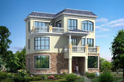 105平现代三层小别墅房屋设计图,时尚新颖,造价25万
