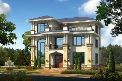 现代三层别墅自建房设计图,13×11米,端庄与优雅的视觉