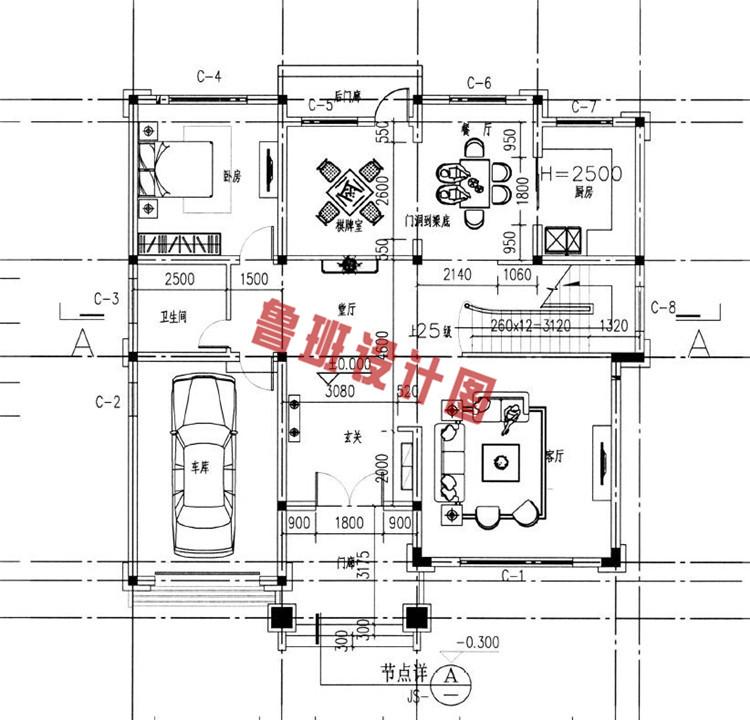 欧式复古三层小别墅推荐一层户型图