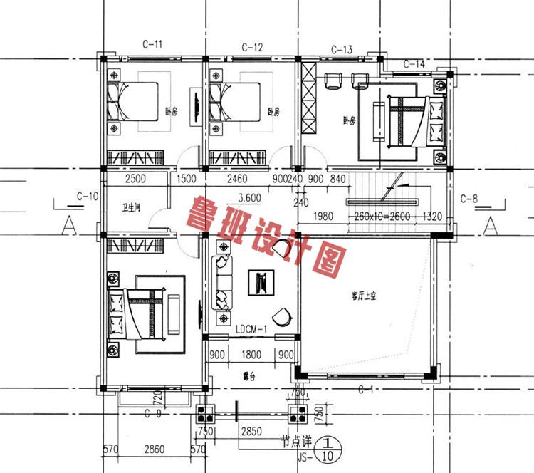 欧式复古三层小别墅推荐二层户型图