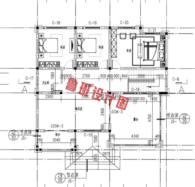 欧式复古三层小别墅推荐三层户型图