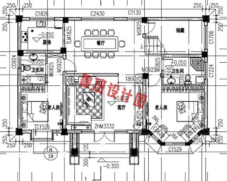 三层简欧别墅设计一层户型图