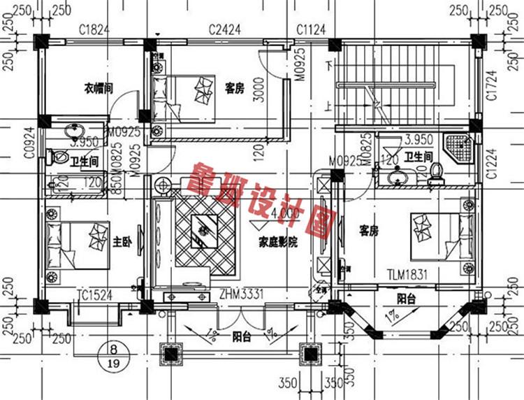 三层简欧别墅设计二层户型图