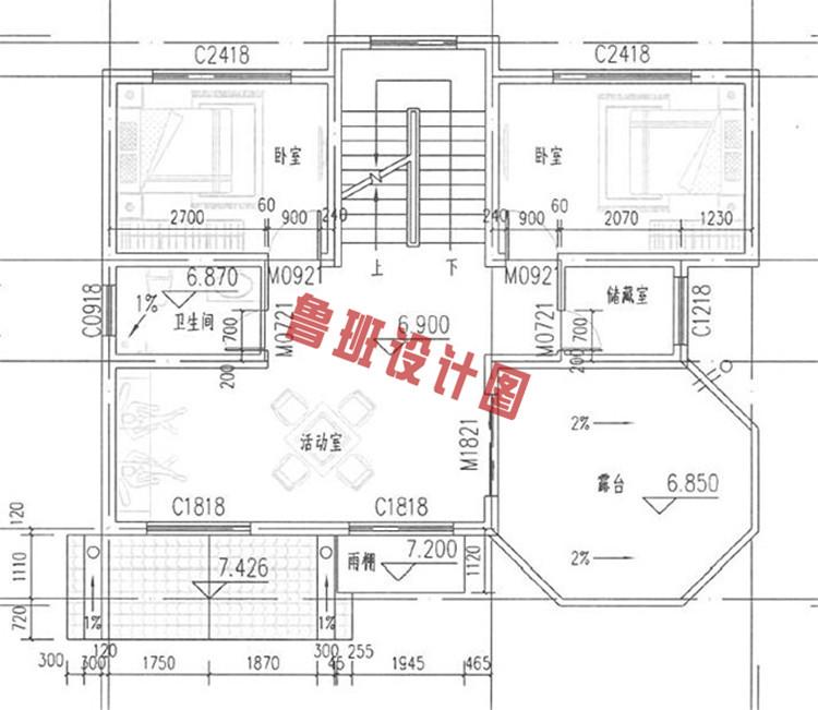 平现代风别墅设计三层户型图