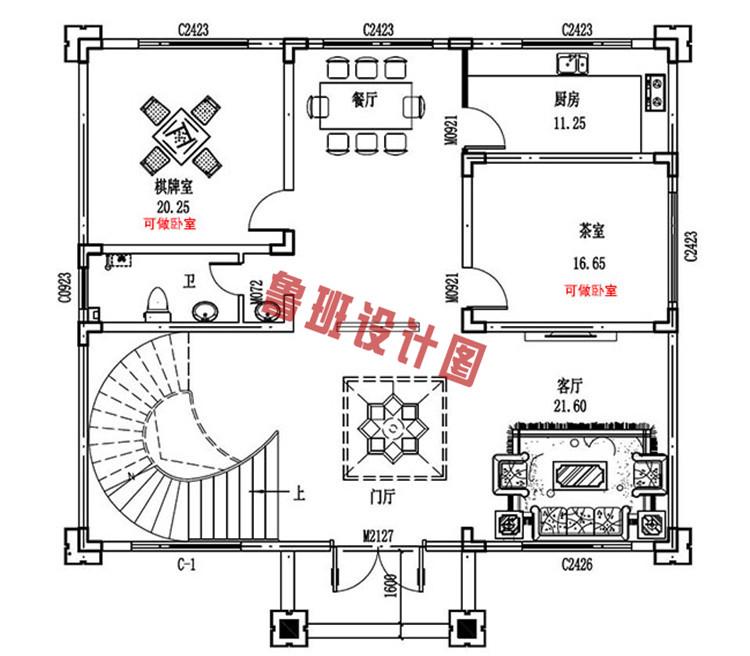 火爆款现代三层小别墅设计一层户型图