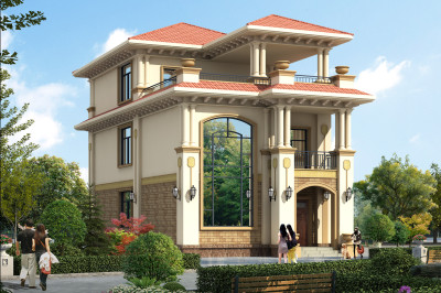 8x12米农村建房图纸设计方案,外观精致大气,客厅中空。