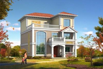 10.5×13米新型农村复式三层小别墅房屋设计图,让家的温暖延续。