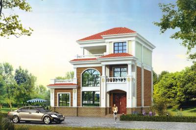 20万三层农村别墅设计图,外观图典雅精致,12×9.3米