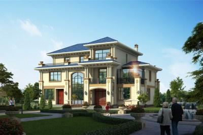 欧式高端三层别墅设计图,80万左右,典雅端庄,气派恢弘