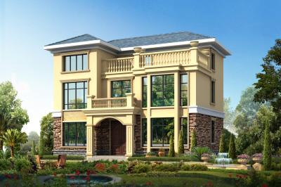 100平乡下三层楼房别墅设计图,户型方正,外观新颖别致