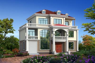 2020农村三层别墅新款设计图,带挑空客厅。