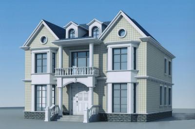 农村别墅二层半图片及设计图,带阁楼,户型经典实用