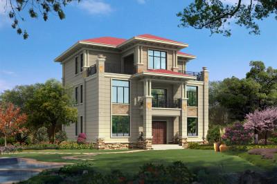 新款复式三层经典欧式楼房设计图,13.7×14.6米