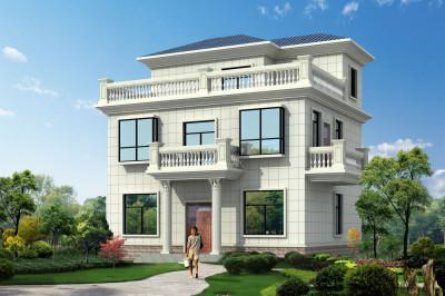 100平三层农村自建楼别墅设计图,10.8×9米,外观简约时尚
