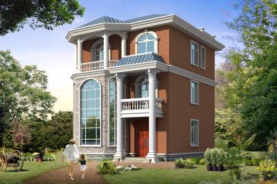 100平三层小别墅自建房设计图,9×11.4米,小户型自建房。