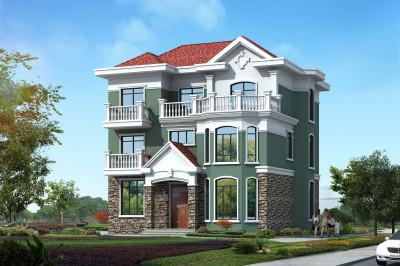 150平米三层别墅设计图,坡层顶,简单大方,色彩鲜明