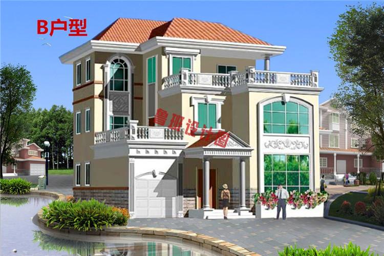 楼中楼三层自建房屋设计效果图