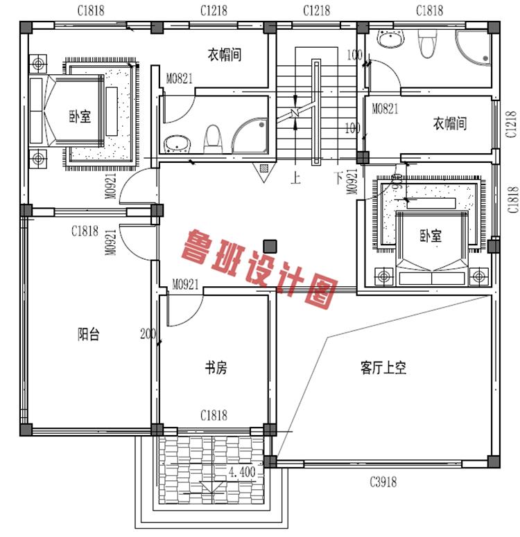 楼中楼三层自建房屋设计二层户型图