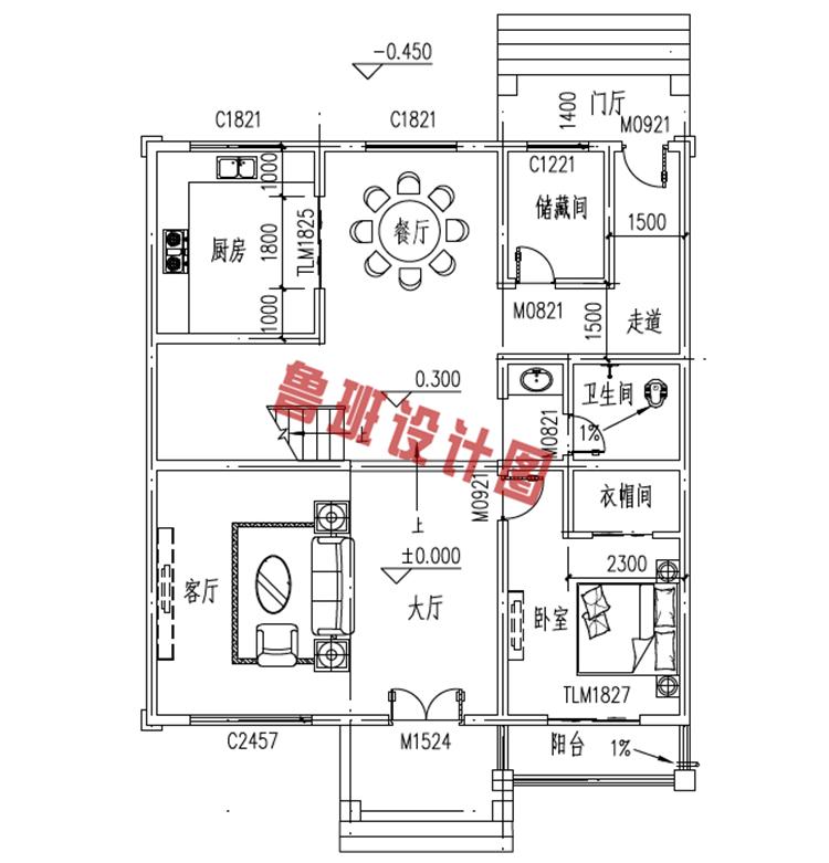 新型农村三层小别墅一层户型图
