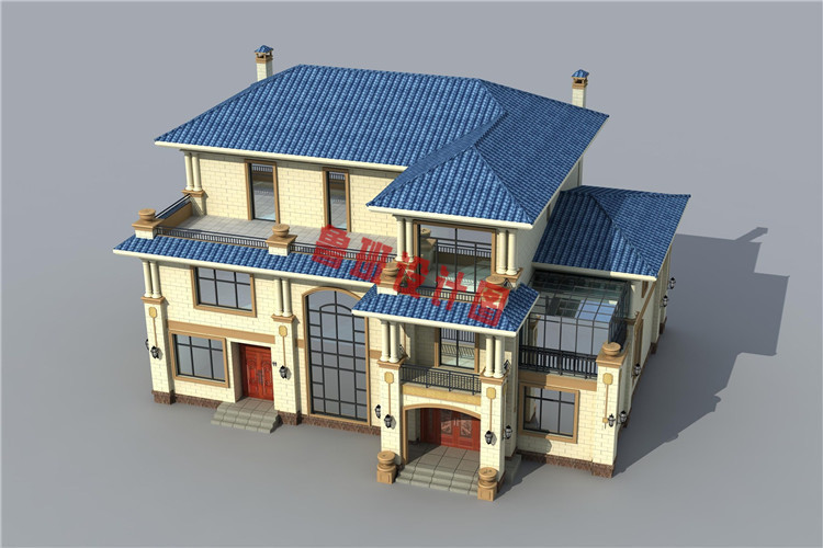 欧式高端三层别墅设计鸟瞰图