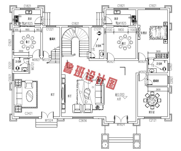 欧式高端三层别墅设计一层户型图