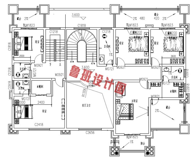 欧式高端三层别墅设计二层户型图