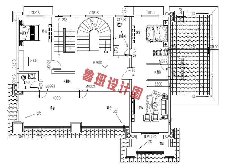 欧式高端三层别墅设计三层户型图