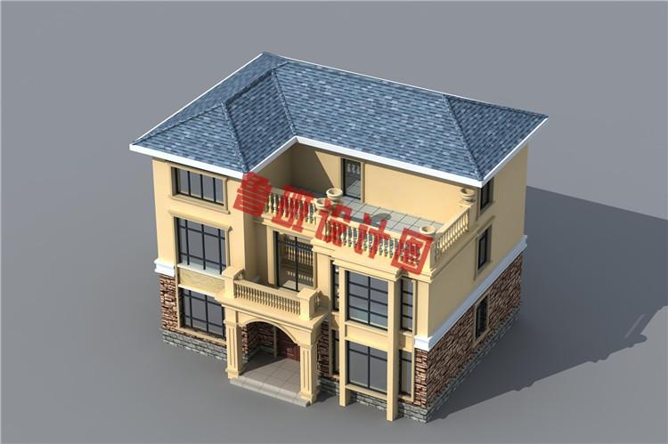 小面积乡下三层别墅设计鸟瞰图