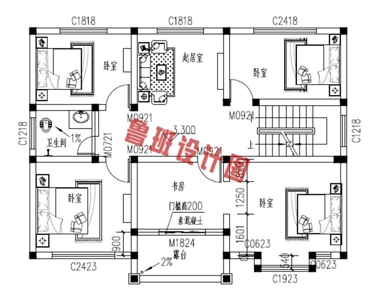 小面积乡下三层别墅设计二层户型图