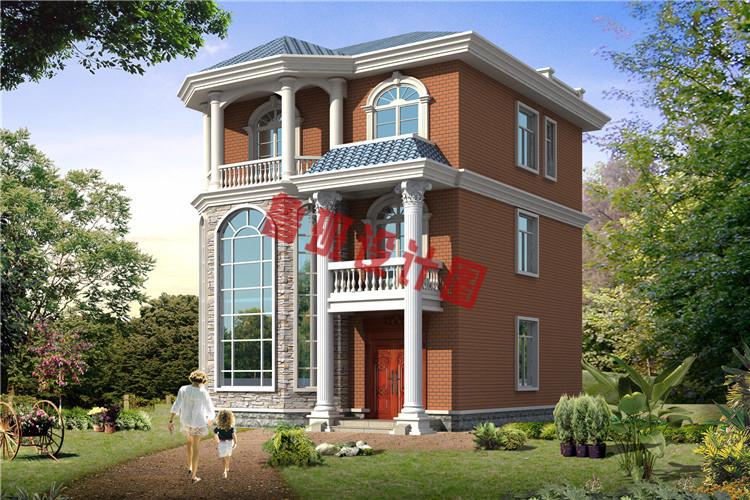 100平三层小别墅自建房设计图,9 11.4米,小户型自建房 三层别墅设图片