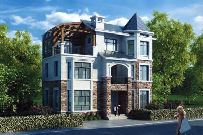 独栋三层楼房别墅设计图,125平占地,外观时尚又漂亮