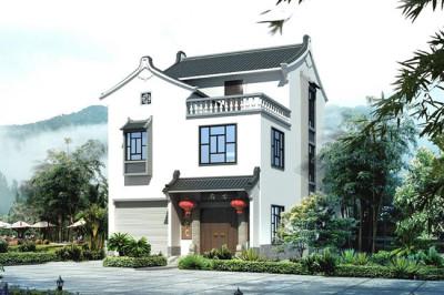 徽派住宅三层小别墅设计图,户型方正,经济美观