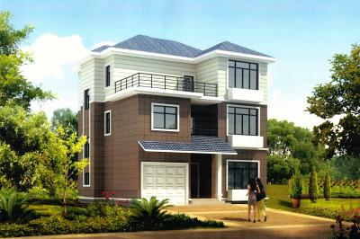 农村房子别墅设计图三层,屋顶带露台11.5*11米-带双车库三层别墅