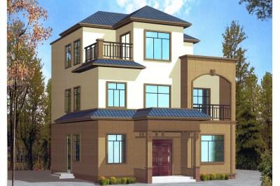 115平农村三层房屋别墅设计图,新颖大方,9.5×12.2米
