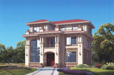 新农村三层高档豪华小别墅设计图,外观豪华大气