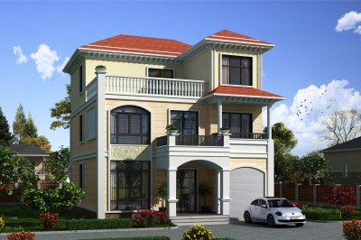 140平农村三层别墅房屋设计图,带车库,全村的焦点