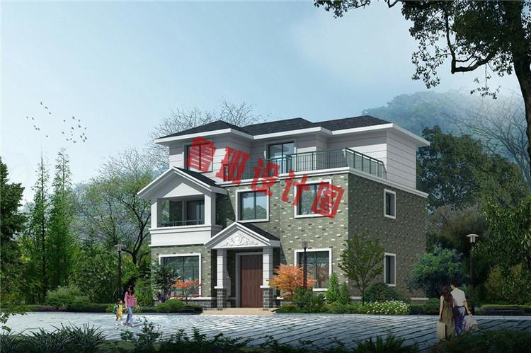 独院式新农村三层别墅设计外观图