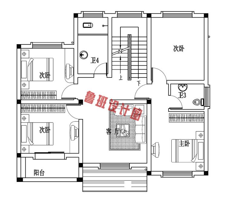 独院式新农村三层别墅设计二层户型图
