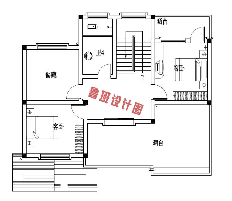 平独院式新农村三层别墅设计三层户型图