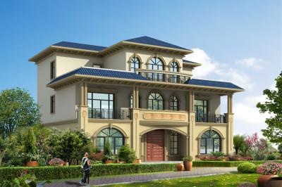 左右对称的三层坡屋顶别墅设计图,外观气派美观