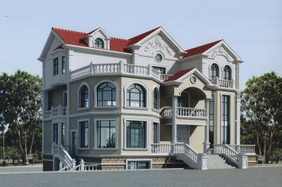 农村70万高端三层别墅款式设计图,带地下室,带旋转楼梯