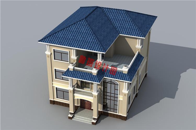 热销款复式实用三层别墅设计鸟瞰图