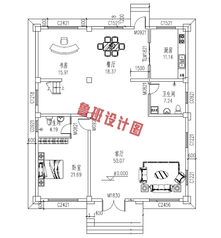 热销款复式实用三层别墅设计一层户型图