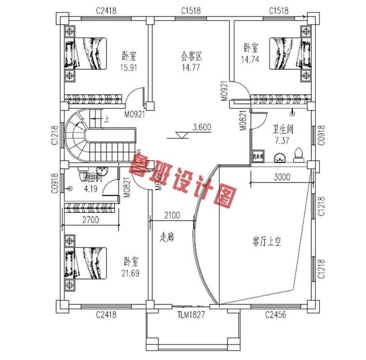 热销款复式实用三层别墅设计二层户型图