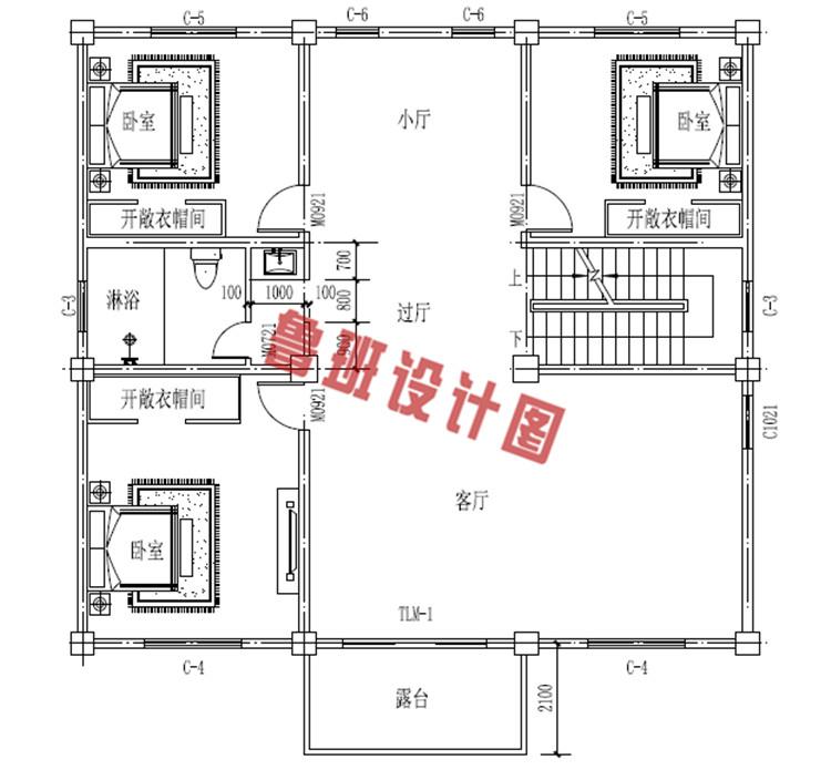 三层新款别墅设计二层户型图
