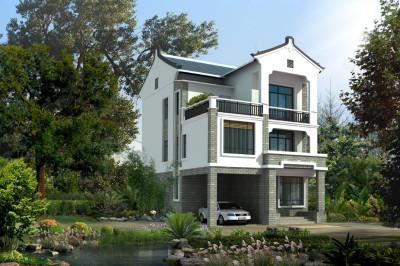 安徽农村二层半小别墅设计图,带车库,方案功能齐全