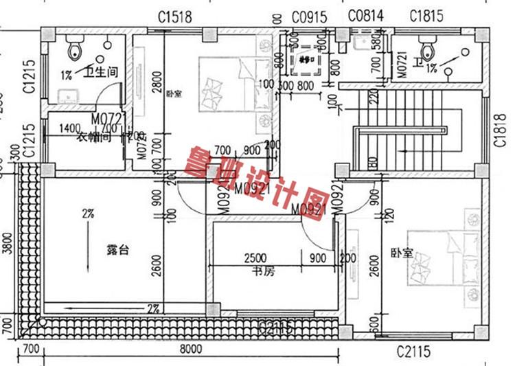 热销款新中式三层别墅设计三层户型图